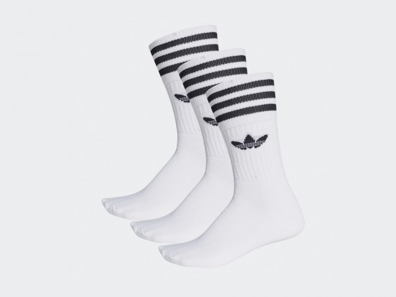 SOLID CREW SOCK 'WHITE/BLACK (3 PAIRES)